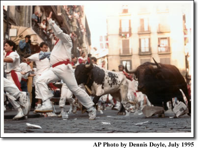 Running with the Bulls in Pamplona, Spain  Photo by Dennis Doyle, July 1995